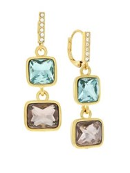 Cole Haan Colorful Crystal Double Drop Earrings Gold