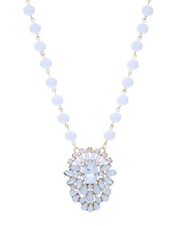 Robert Rose Cluster Stone Pendant Necklace White
