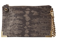 Foley Corinna Framed Wristlet Clutch Metallic Lizard Clutch Handbags Gray