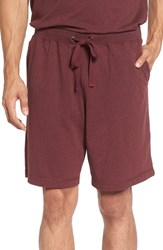 Daniel Buchler Men's Heathered Cotton Blend Lounge Shorts Wine