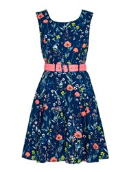 Yumi Floral Belted Day Dress Navy