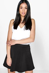 Boohoo Fit And Flare Skater Skirt Black