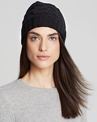 C By Bloomingdale's Cashmere Cable Knit Hat Black