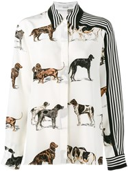 Stella Mccartney Dog And Stripe Print Shirt Nude Neutrals