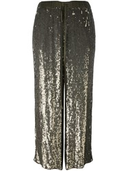 P.A.R.O.S.H. Sequined Straight Leg Trousers Metallic