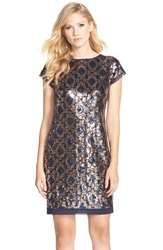 Vince Camuto Geometric Sequin Chiffon Shift Dress Navy Bronze