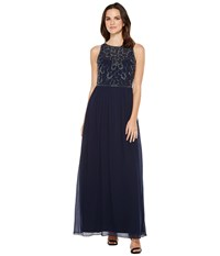 Adrianna Papell Sleeveless Beaded Georgette Gown Midnight Women's Dress Navy