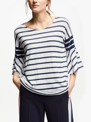 Marella Linen Stripe Bell Sleeve Top White
