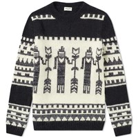 Saint Laurent Totem Intarsia Crew Knit Black