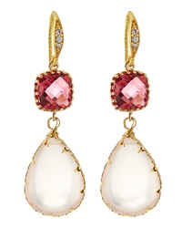 Indulgems Crystal And Rose Quartz Drop Earrings