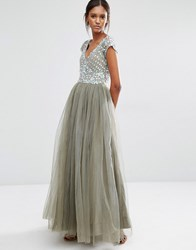 A Star Is Born Prom Embellished Tulle Maxi Dress Grey