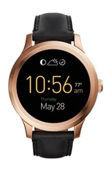 Fossil 'Fossil Q Founder' Round Leather Strap Smart Watch 47Mm Black Black