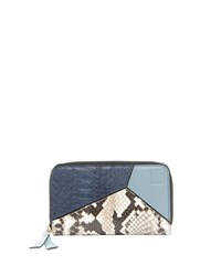 Loewe Puzzle Leather And Snakeskin Wallet Blue
