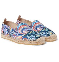 Etro Painted Paisley Canvas Espadrilles Blue