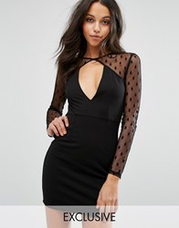 Missguided Dobby Lace Key Hole Plunge Dress Black