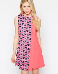 Max C London Max C Shift Dress In Geo Mix Print Pink