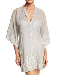 Flora Bella Primland Embroidered Short Caftan Coverup Dove Gray