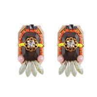 Niino Jewelry Wooden Beads Tribal Earrings Gold