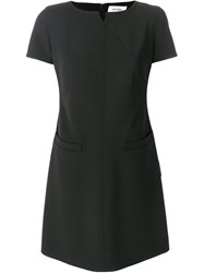 Courreges Shift Fitted Dress Silk Acetate Cupro Wool Black