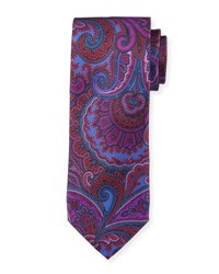 Neiman Marcus Italian Made Tapestry Silk Printed Tie Red Blue
