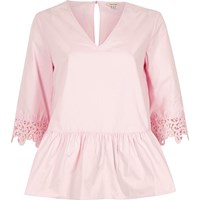 River Island Pink Crochet Trim Sleeve Peplum Hem Top