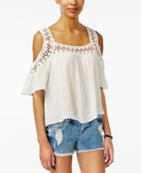 American Rag Crochet Cold Shoulder Top One White
