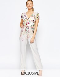 Hope And Ivy Wide Leg Jumpsuit In Ombre Floral Print Cream Multi