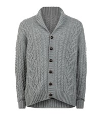 Harrods Of London Cashmere Aran Cardigan Male Grey