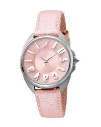 Just Cavalli 34Mm Logo Stainless Steel Watch W Leather Strap Pink