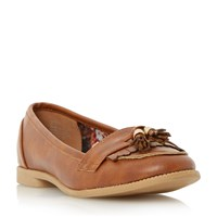 Head Over Heels Glynnis Fringe And Tassel Detail Loafers Tan