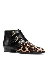 Michael Michael Kors Prudence Leopard Print Calf Hair And Leather Booties Black Leopard