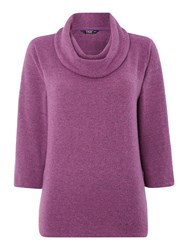 Tigi Three Quarter Sleeve Cowl Neck Jumper Pink
