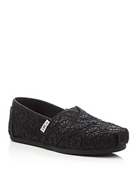 Toms Seasonal Classic Glitter Crochet Slip On Flats Black