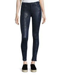 7 For All Mankind Snake Embossed Knee Seam Skinny Pants Navy