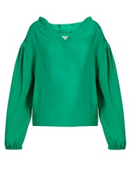 Balenciaga Balloon Sleeve Crepe Blouse Green