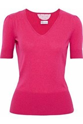 Red Valentino Point D'esprit Paneled Cashmere And Silk Blend Top Fuchsia