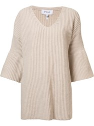 Derek Lam 10 Crosby V Neck Knitted Blouse Nude Neutrals