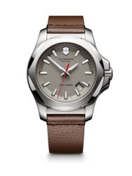 Victorinox Inox Stainless Steel And Leather Textured Dial Strap Watch Brown