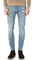 The Kooples Destroyed Slim Fit Denim Jeans Indigo