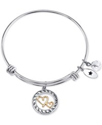 Unwritten Two Tone Double Heart Mother Message Charm Bangle Bracelet In Stainless Steel Two Tone