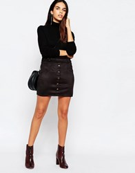 Wal G Suedette Skirt With Button Front Black