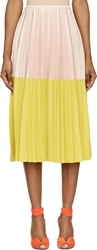 Cedric Charlier Nude Pink And Yellow Colorblock Pleated Skirt