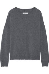 Current Elliott The Destroyed Knit Wool And Cashmere Blend Sweater Dark Gray