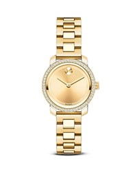 Movado Bold Yellow Gold Ion Plated Stainless Steel Watch With Diamonds 25Mm
