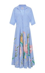 Stella Jean Rampante Floral Striped Shirt Dress Blue
