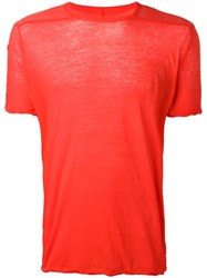 Rick Owens Twisted Edge T Shirt Red