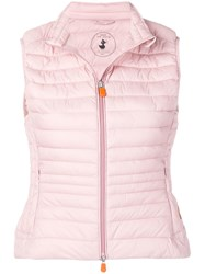 Save The Duck Quilted Fitted Gilet Pink