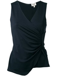 Armani Collezioni Ruched V Neck Top Blue
