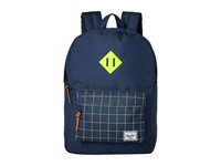 Herschel Heritage Youth Navy Navy Grid Neon Lime Rubber Backpack Bags