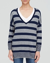 Joie Sweater Chyanne D Striped V Neck Heather Grey Dark Navy